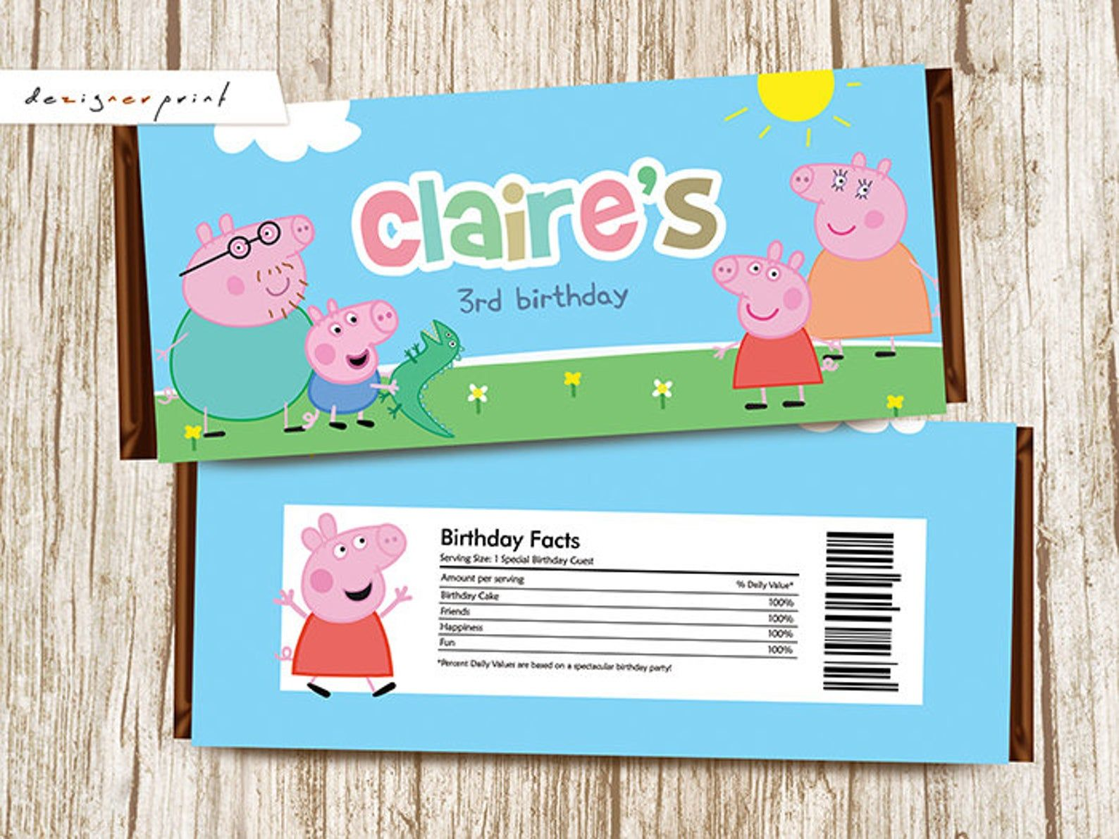 Peppa Pig Candy Bar WrappersBirthday Party Favors