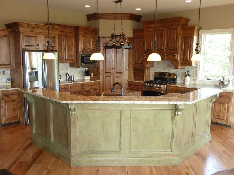 Kitchens with island barsl open kitchen with island bar for Kitchen plans with island and pantry