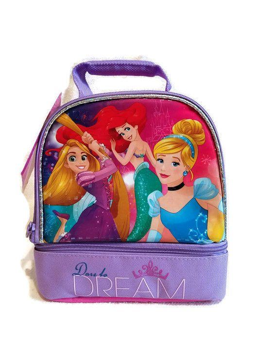5c1f4f9687a NWT DISNEY PRINCESS Dare to Dream Lunch Box ARIEL CINDERELLA RAPUNZEL  Lunchbox  Disney  LunchBag