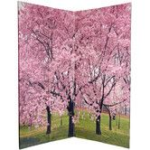 """Found it at Wayfair - 72"""" x 48"""" Double Sided Cherry Blossoms 4 Panel Room Divider"""
