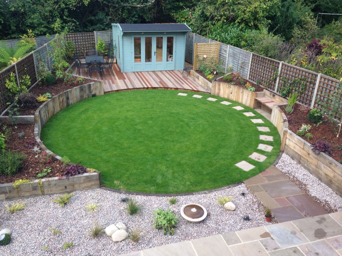 Circular lawn encased by oak sleepers designed by bushy for Garden designs with stone circles