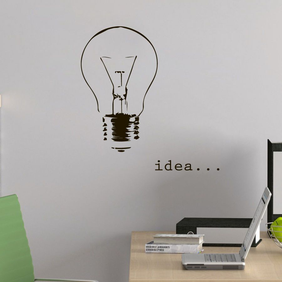 Designer-Muurstickers-Quote-Idee-Decal-Gloeilamp-Vinyl-Sticker ...