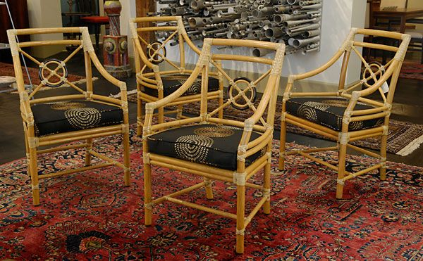 Set Of Four McGuire Rattan Target Chairs