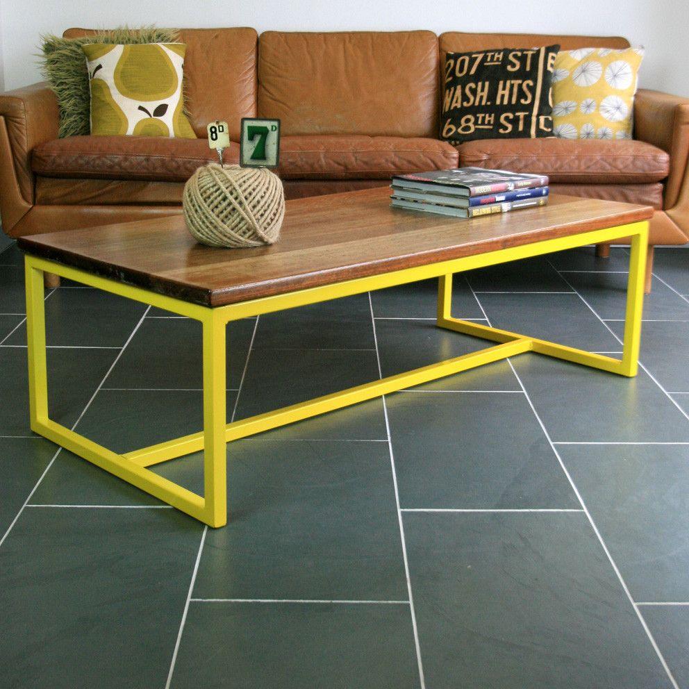 Harnall Industrial Iroko Coffee Table (Yellow) **Made To
