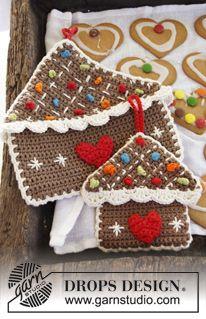 "Crochet DROPS gingerbread house pot holder in 2 strands ""Safran"" and ""Paris"". ~ DROPS Design ~ free pattern"
