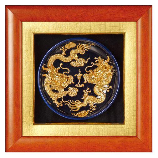 Double Dragon Mainstream Sculpture - lacquer thread art.