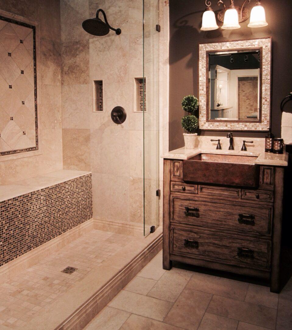 A Rustic Yet Transitional Tiled Bathroom. #thetileshop