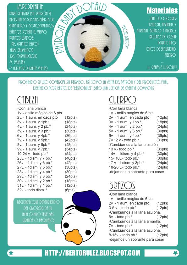 Bertorulez: Patrón Gratuito: Baby Donald Duck   Amigurumis ...