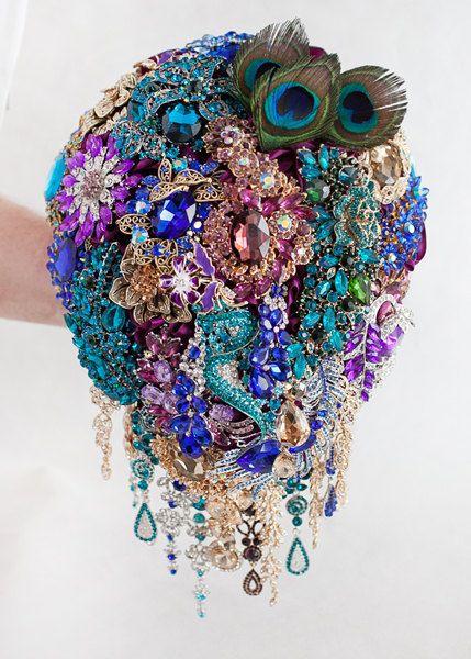 a85eef77e Peacock bouquet, Brooch bouquet, Peacock Wedding, Bridal Bouquet, Jewelry  Bouquet, Blue Purple Bouqu
