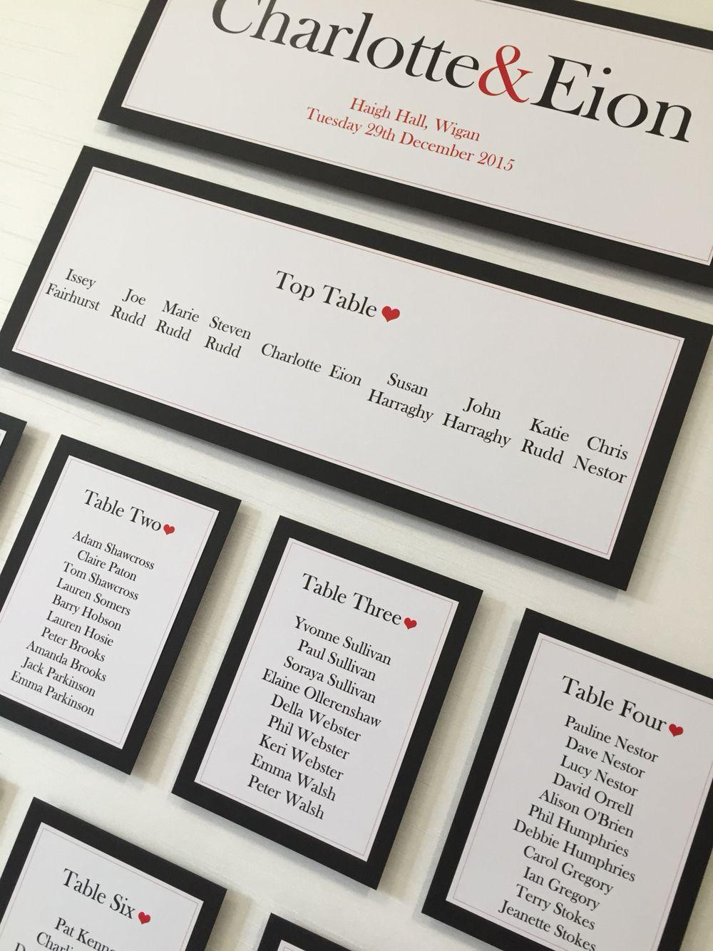 Plain & Simple Black, White & Red Heart Wedding Table Plan ...