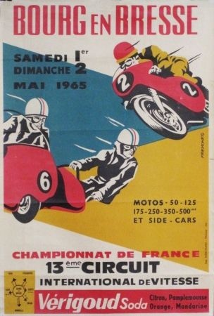 bourg en bresse championnat de france moto vintage poster by freychet vintage metal signs. Black Bedroom Furniture Sets. Home Design Ideas
