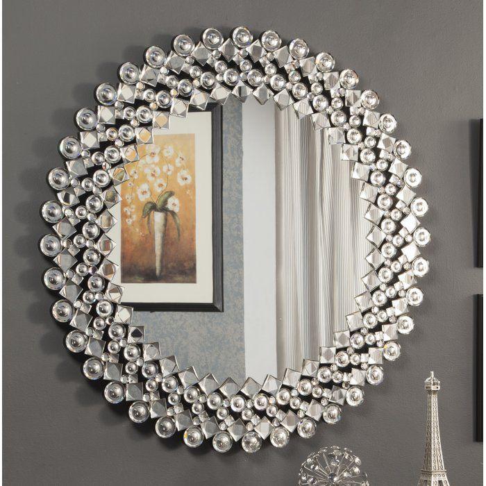Round Crystal Wall Mirror Crystal Wall Mirror Wall Framed