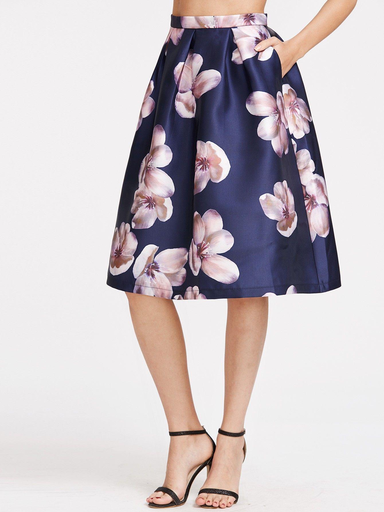 Navy Flower Print Box Pleated Volume Skirt Box Pleat Skirt Floral Print Midi Skirt Skirt Fashion