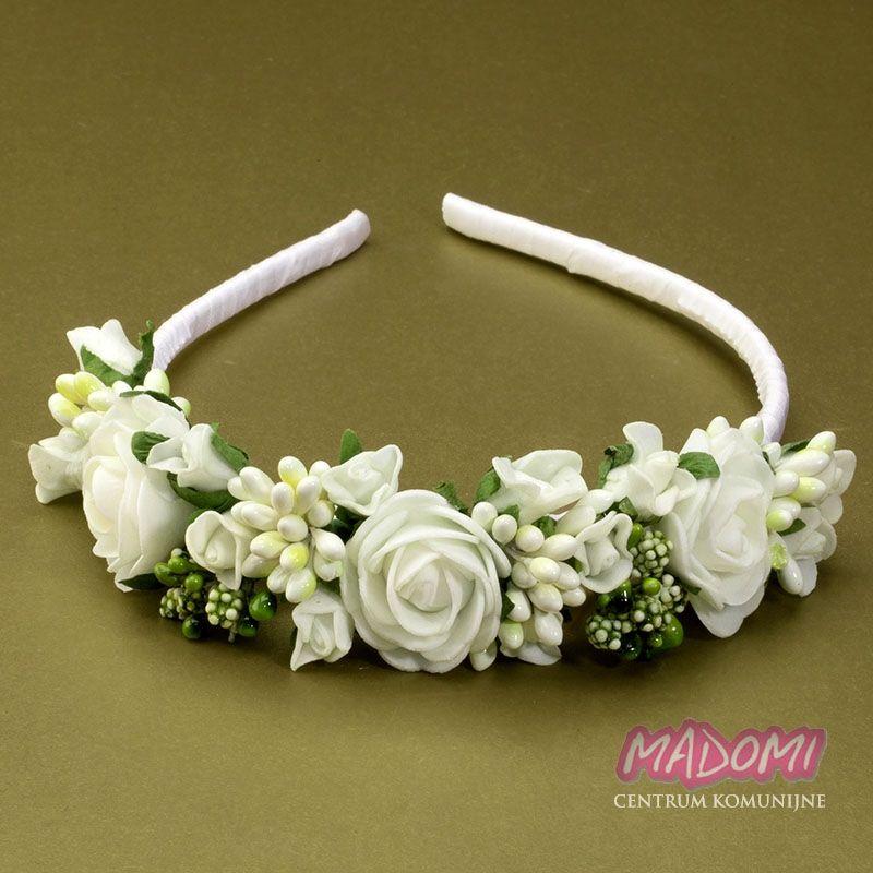 Opaski Do Wlosow Do Komunii Jak Zywe Ow55 Madomi First Communion Dresses Floral Communion Dresses