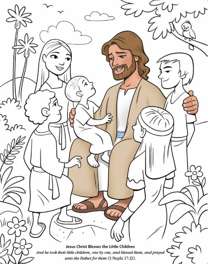 Lds games color time jesus christ blesses the little for Jesus blesses the children coloring page