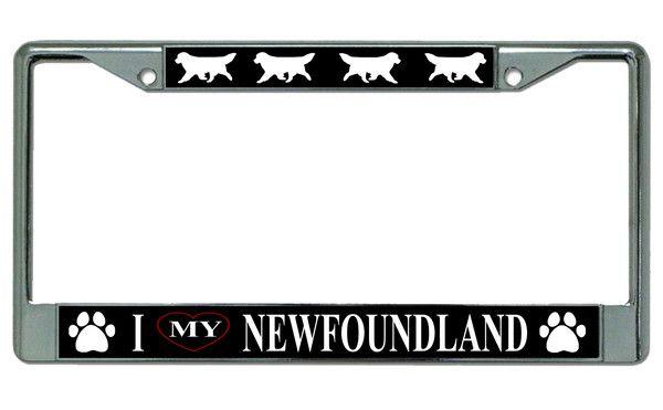 I Love My Dachshund Chrome Metal License Plate Frame