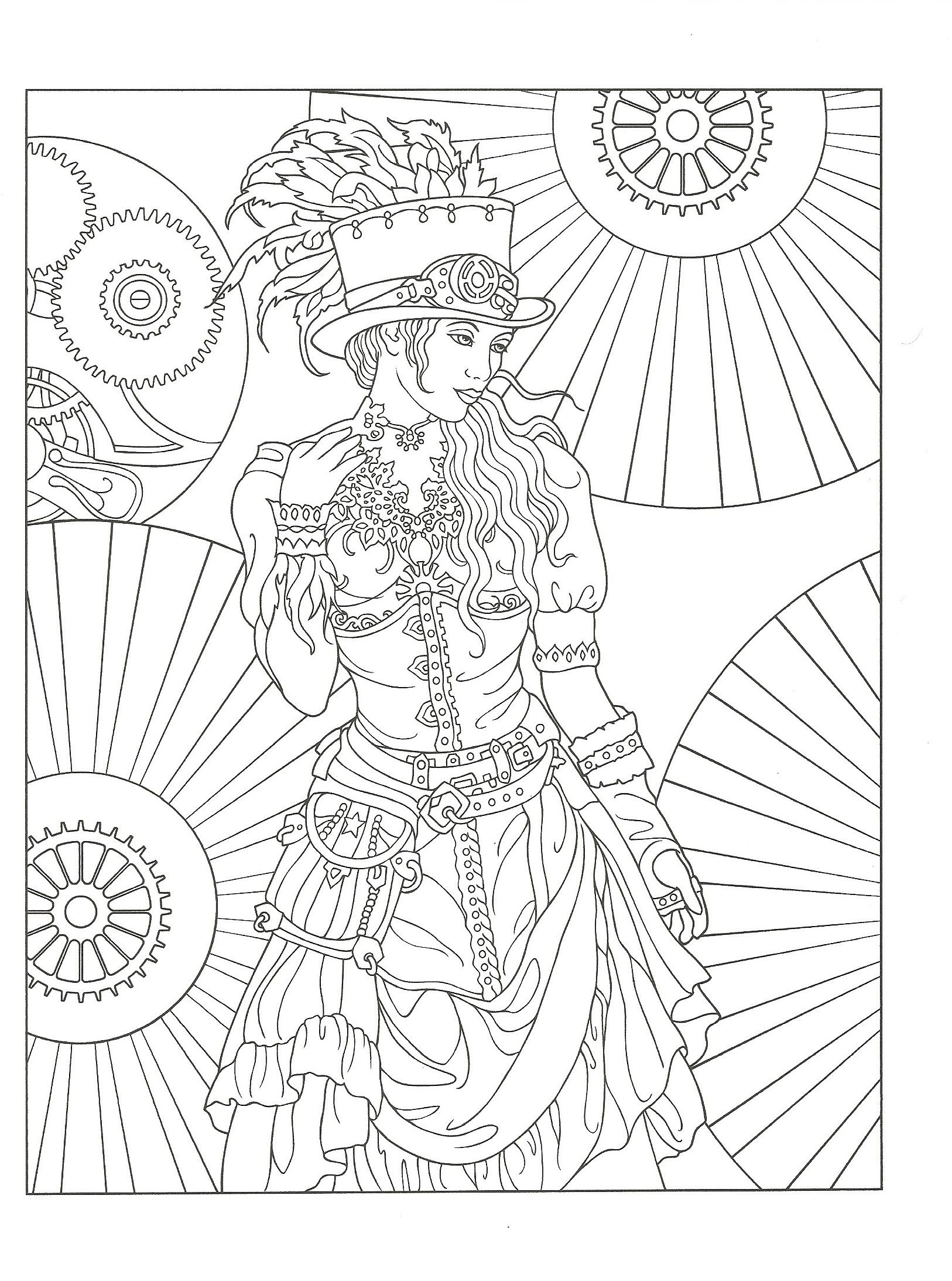 Adult Coloring page from Creative Haven Steampunk Fashions