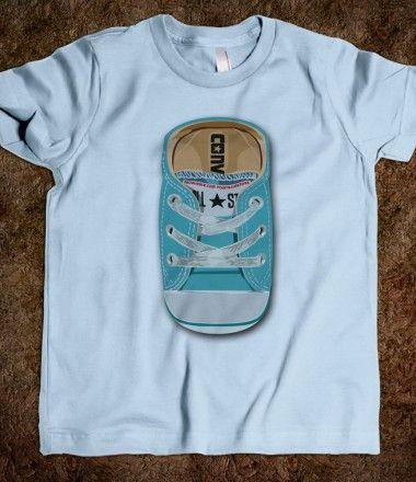 All Star Converse Blue teal casual shoes kids tee tshirt