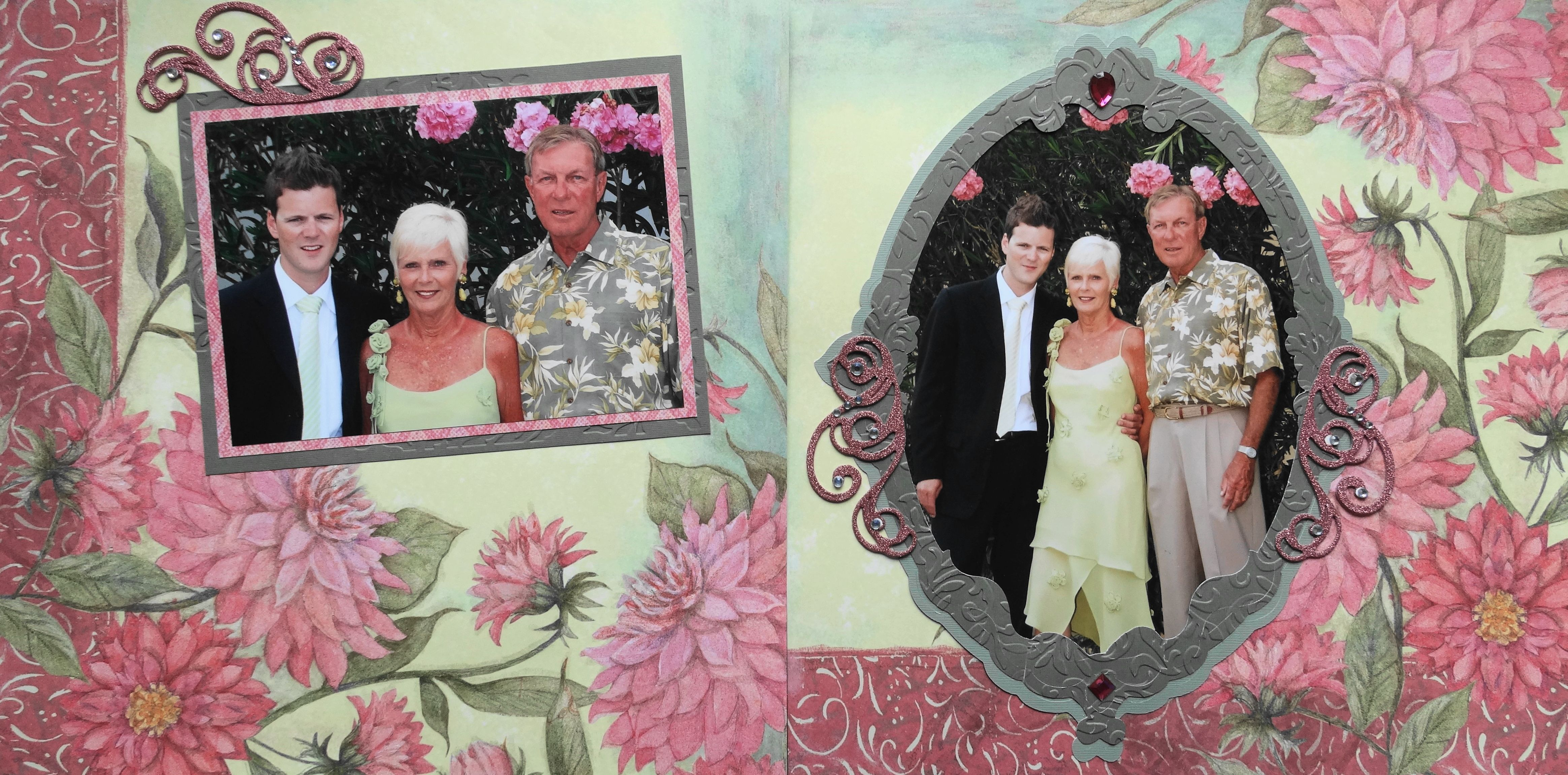 Wedding scrapbook ideas using cricut - Wedding Scrapbook Page The Groom S Parents 2 Page Wedding Layout With Flowers From
