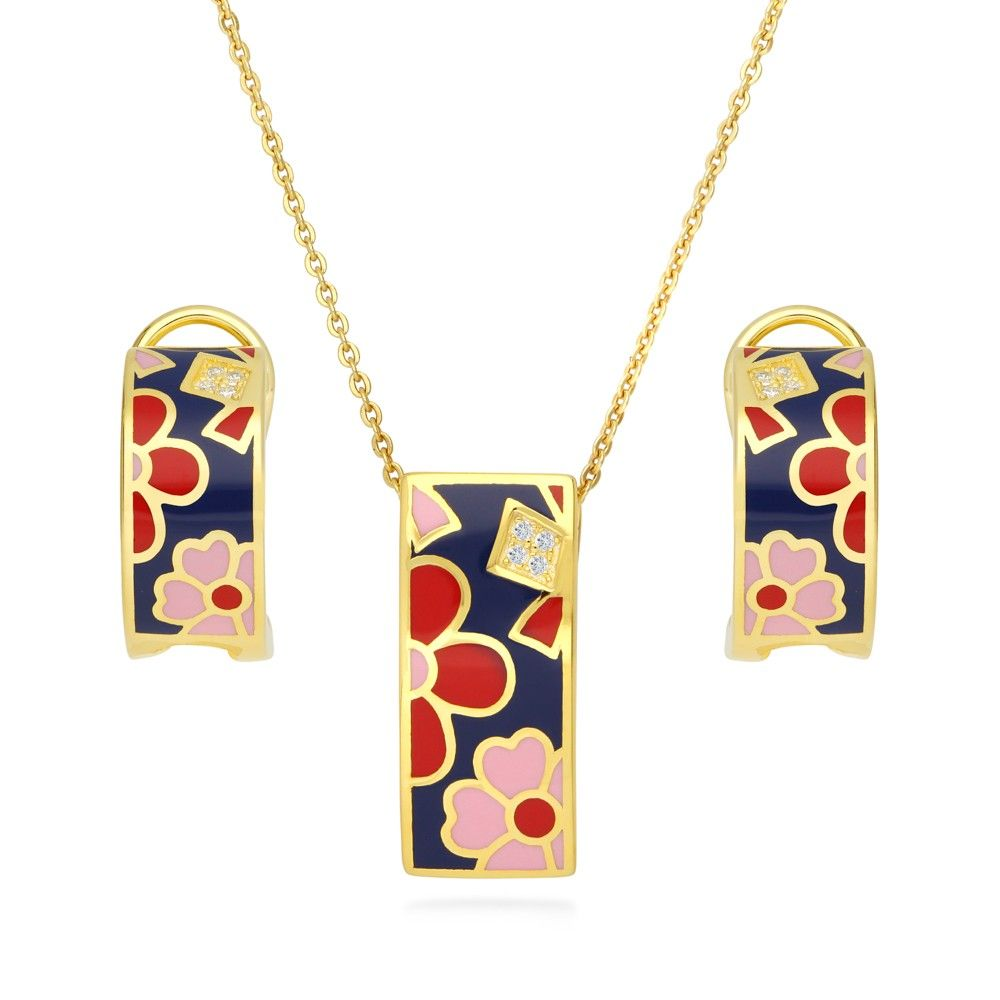 Gold flashed sterling silver cz enamel flower necklace and earrings