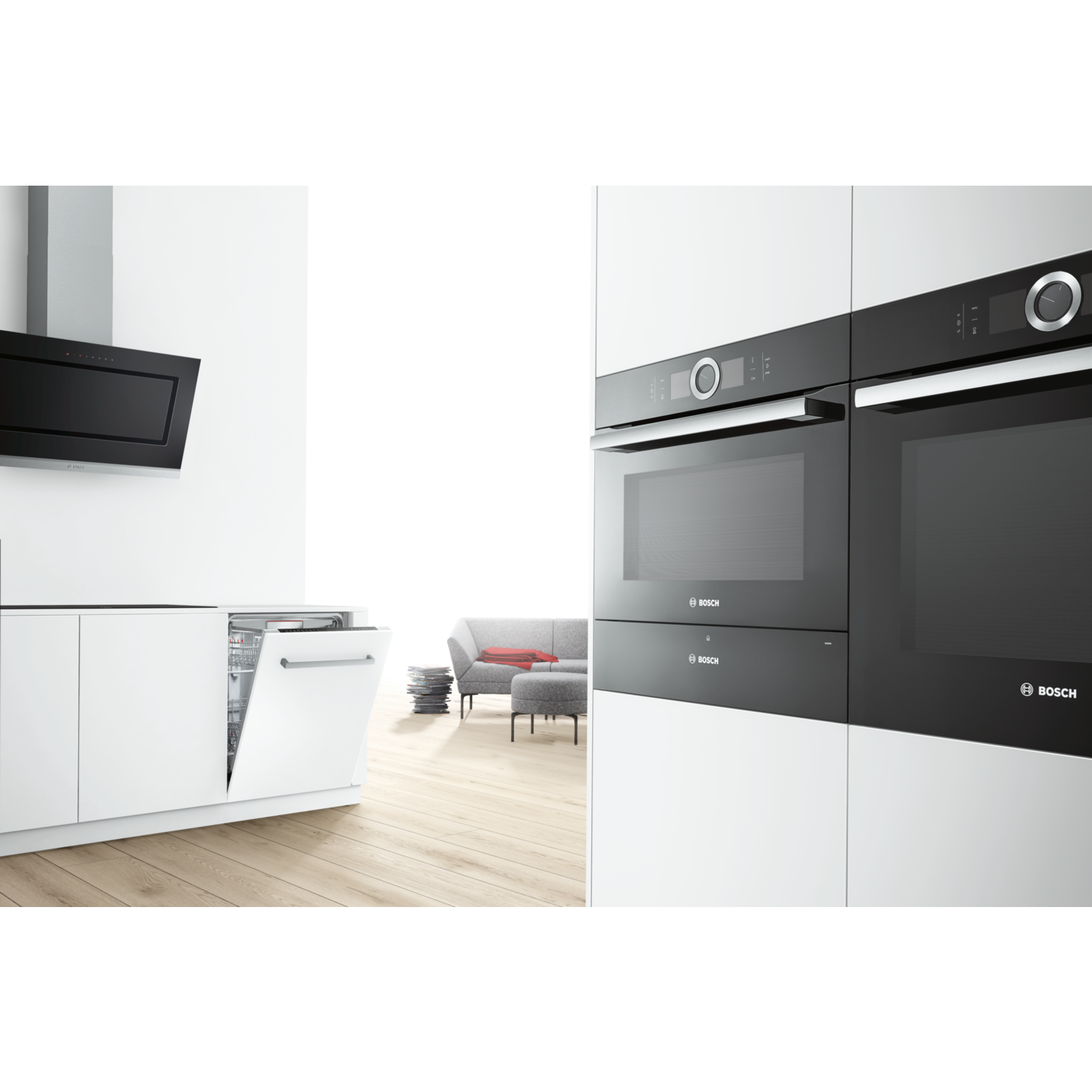 Black is the new stainless steel. Match your oven with your steam ovens, coffee machines and heating drawers. Availible in black, white or stainless steel. | Bosch Serie 8 ovens | #boschtestpilot | #kök | #køkken |  #kjøkken |  #keittiö