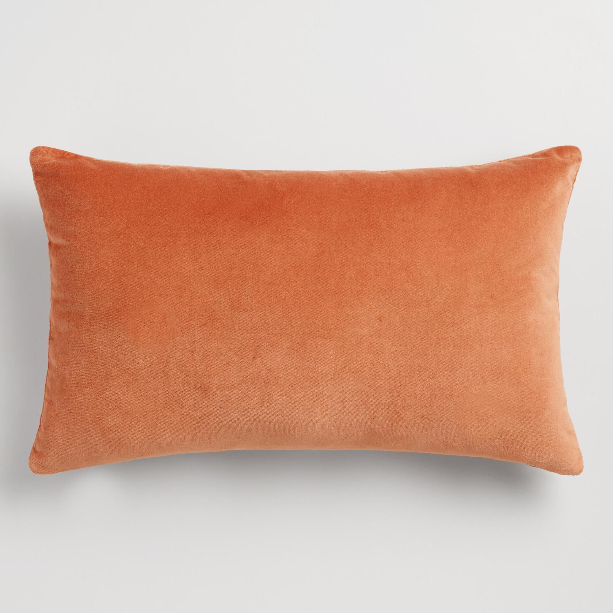 Crafted of luxurious cotton velvet, our light rust orange lumbar ...