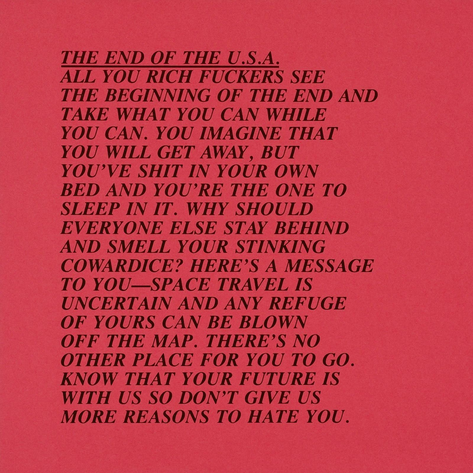 Jenny Holzers Inflammatory Essaysthe End Of The Usa  Text Art  Jenny Holzers Inflammatory Essaysthe End Of The Usa Health Essay Sample also Thesis Statement Essay  Essays In English