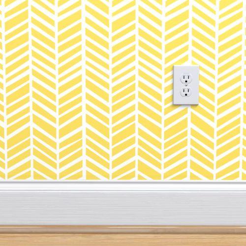 Herringbone Lemon Zest Yellow Herringbone Wallpaper Yellow Accent Walls Yellow Wallpaper