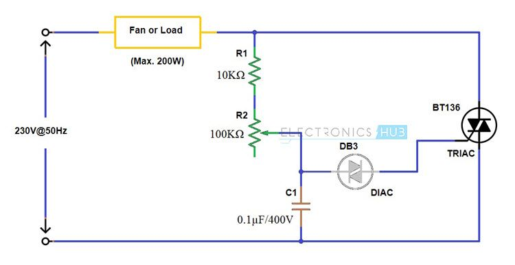simple fan regulator circuit using triac and diac electronics rh pinterest com 12v regulator circuit diagram solar regulator circuit diagram 12v