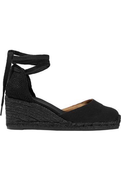 5b14fe5fe9d Wedge heel measures approximately 80mm  3 inches Black canvas Ties at ankle  Imported