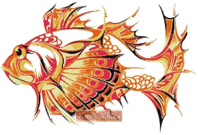 Tribal fish cross stitch kit