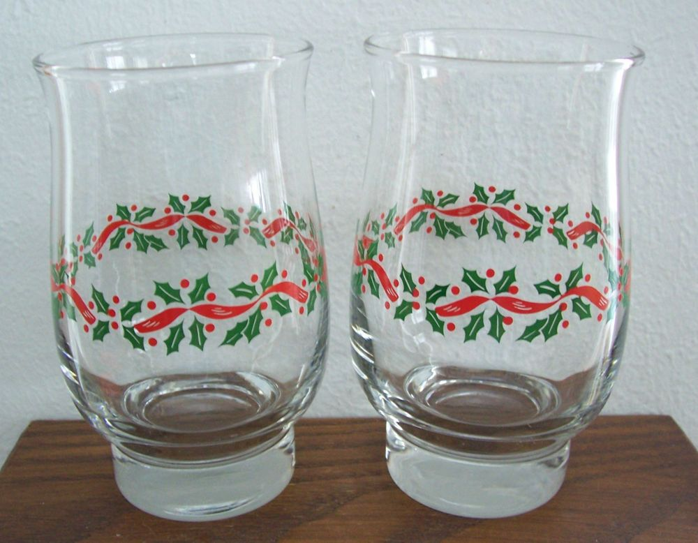2) Arby's Libbey Holly Berry Tumblers Christmas Water Glasses ...