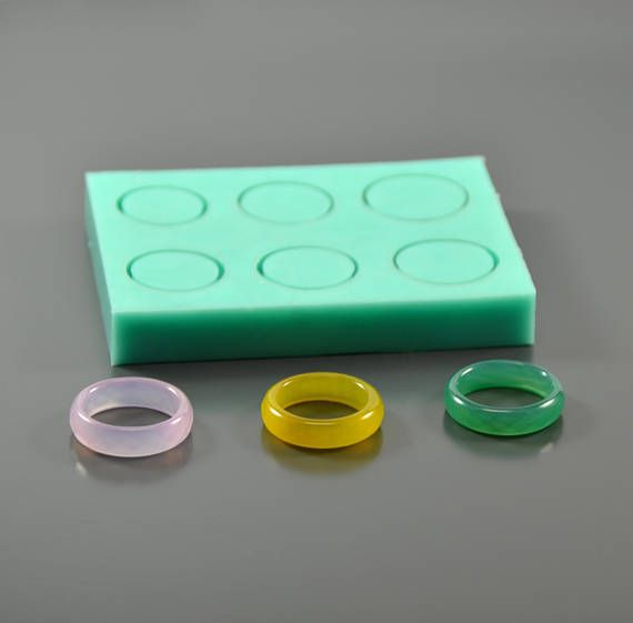 Silicone mold 6 size faceted rings - Form for making rings