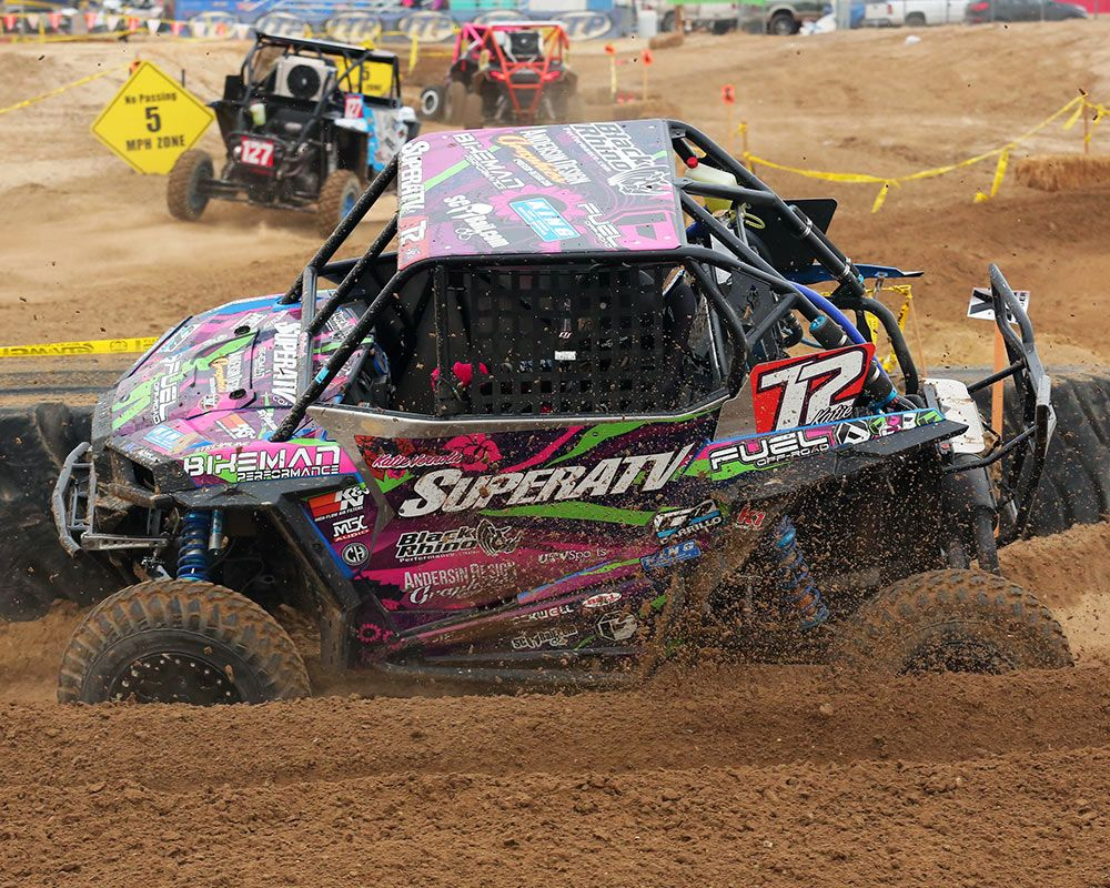 Katie Vernola got her 2016 racing season started with a bang, both literally and metaphorically speaking, with a rear-end collision ruining Katie's Polaris RZR exhaust system