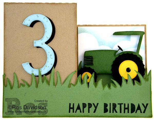 John Deere 3rd birthday step card #stampinup #ageaweareness #gorgeousgrunge