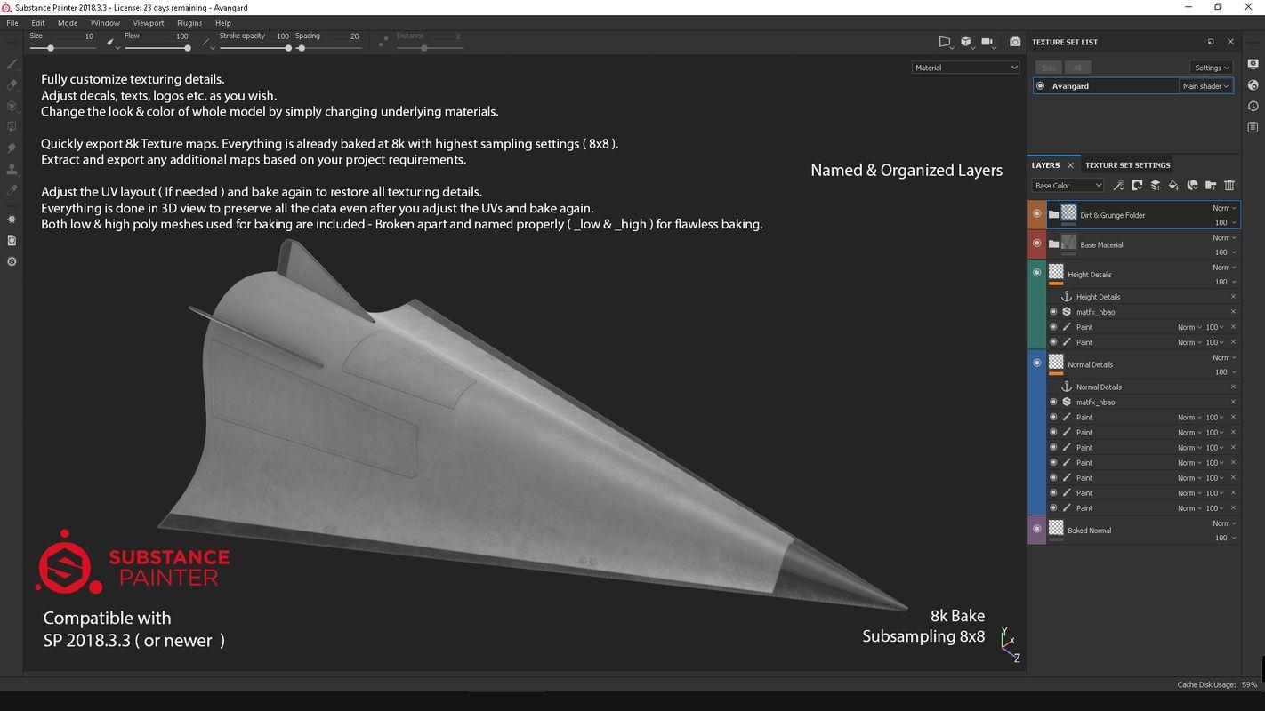 Avangard (hypersonic glide vehicle) PBR 3D Model Glide
