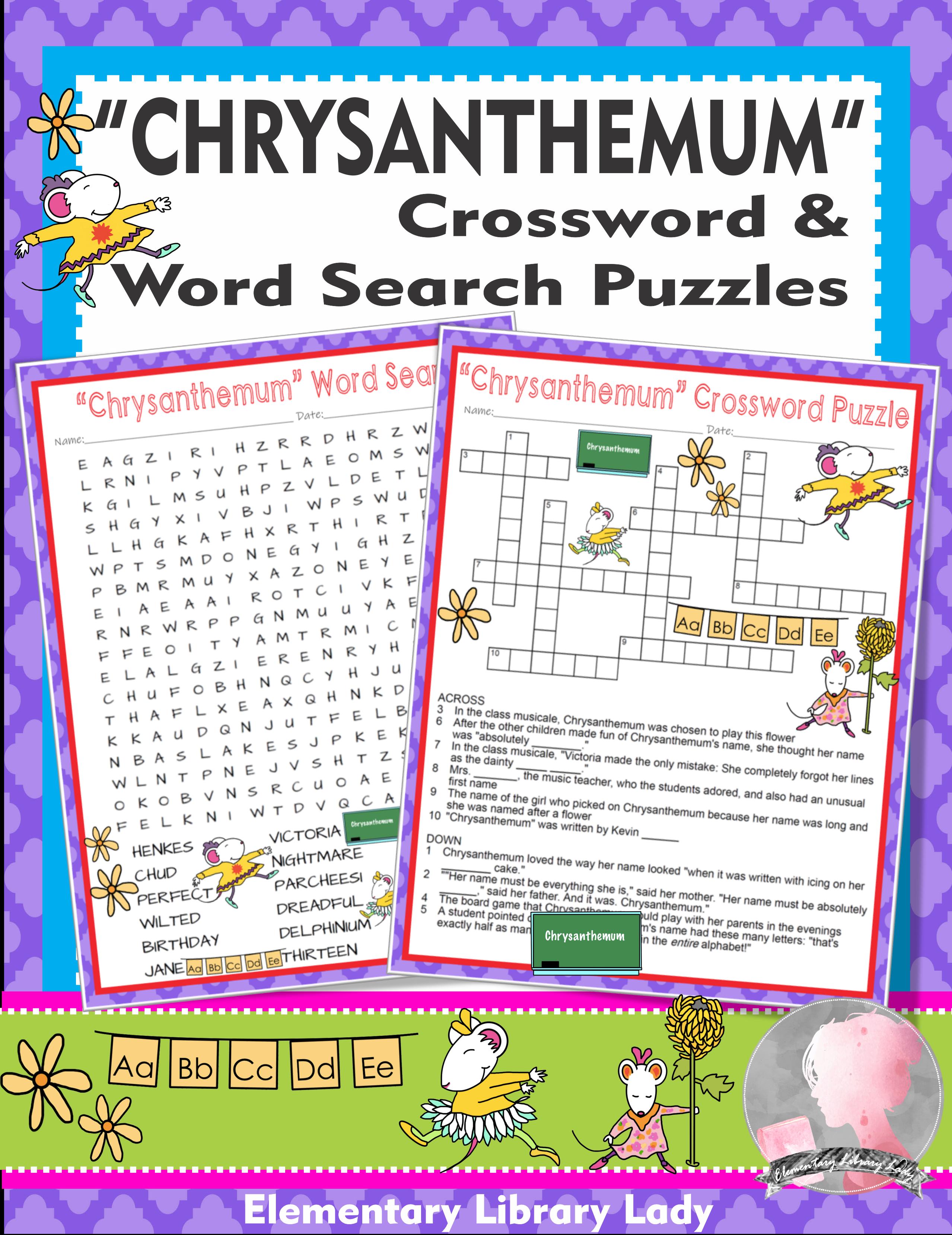 Chrysanthemum Activities Kevin Henkes Crossword Puzzle Word