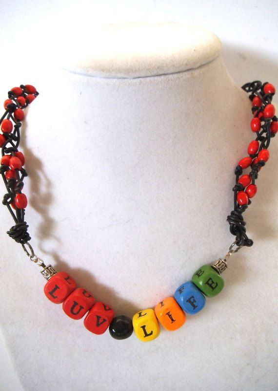 Colorful Block Letter LUV LIFE Necklace by TerriJeansAdornments, $16.00