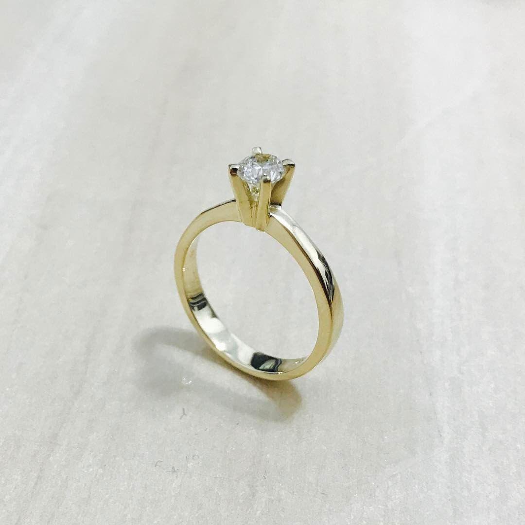Br Joias Br Joias Anel Solitario Em Ouro 18k Diamante Anel