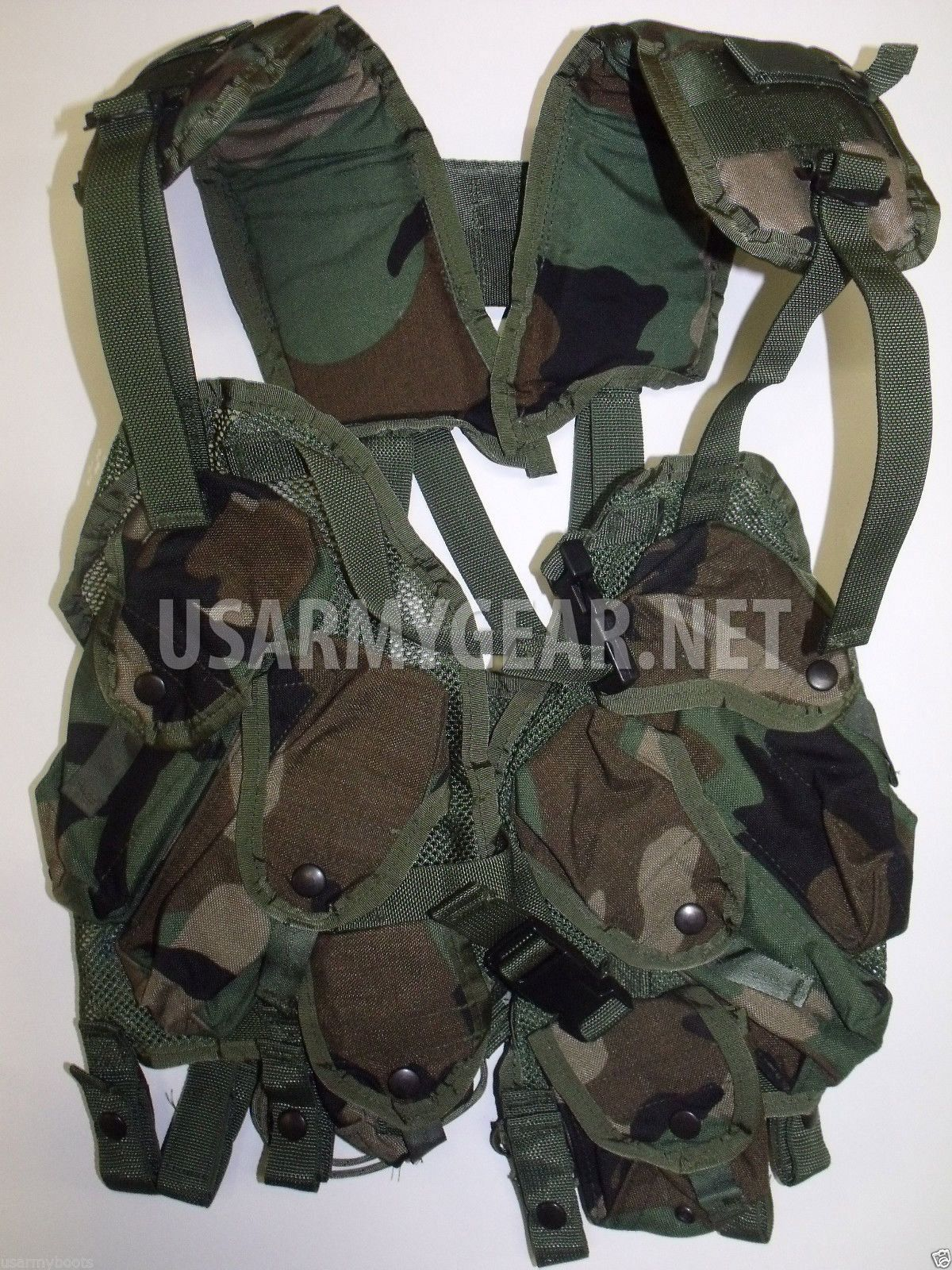 640f3eee3643 NEW Woodland Camo Tactical Load Bearing Vest LBV | F.L.C. & L.B.V. Vests