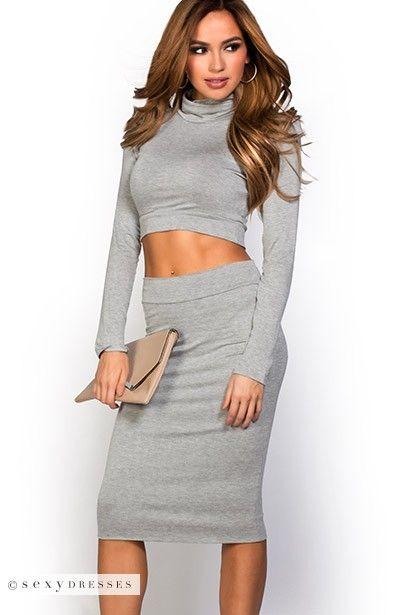 Tanaya Gray Casual Long Sleeve Turtleneck Crop Top 2 Piece Dress