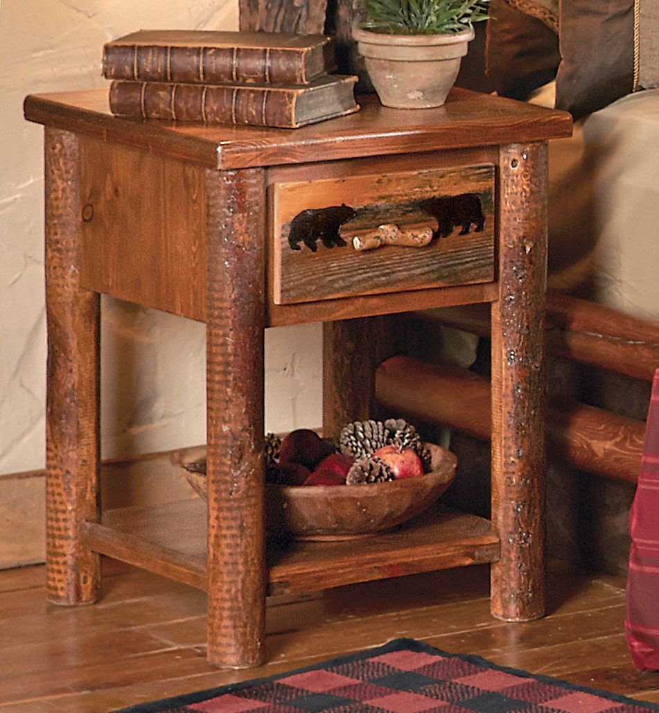 Pine Crest Bear Log Nightstand (With images) Log bedroom