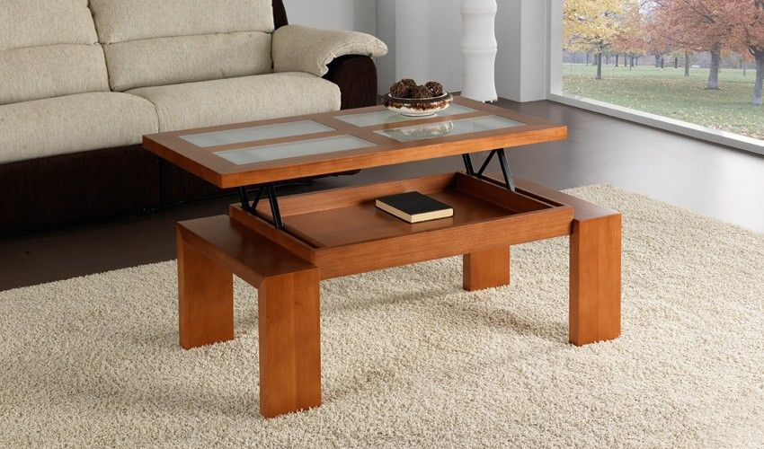 Mesa de centro elevable color cerezo for Mesas auxiliares elevables