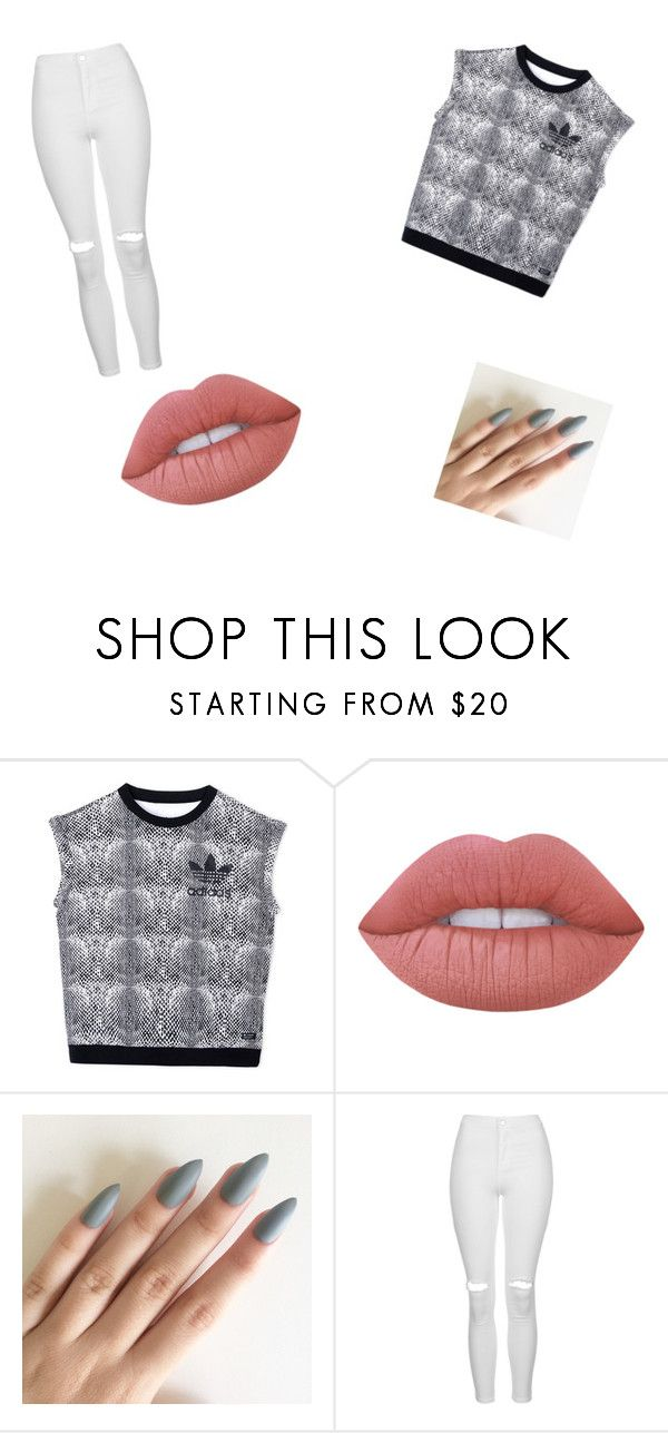 """""""Untitled #11"""" by holly010104 ❤ liked on Polyvore featuring adidas, Lime Crime and Topshop"""