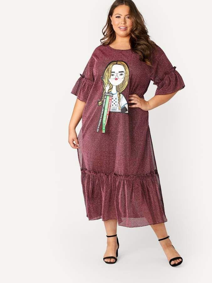 18f624a483 Shein Plus Cartoon Print High Split Ruffle Glitter Dress   Products