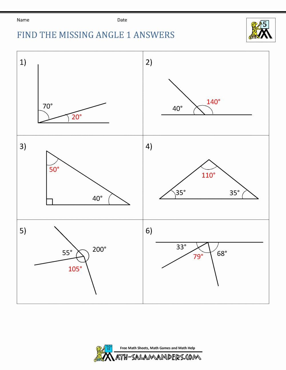 Finding Missing Angles Worksheet Unique 5th Grade Geometry   Angles  worksheet [ 1294 x 1000 Pixel ]
