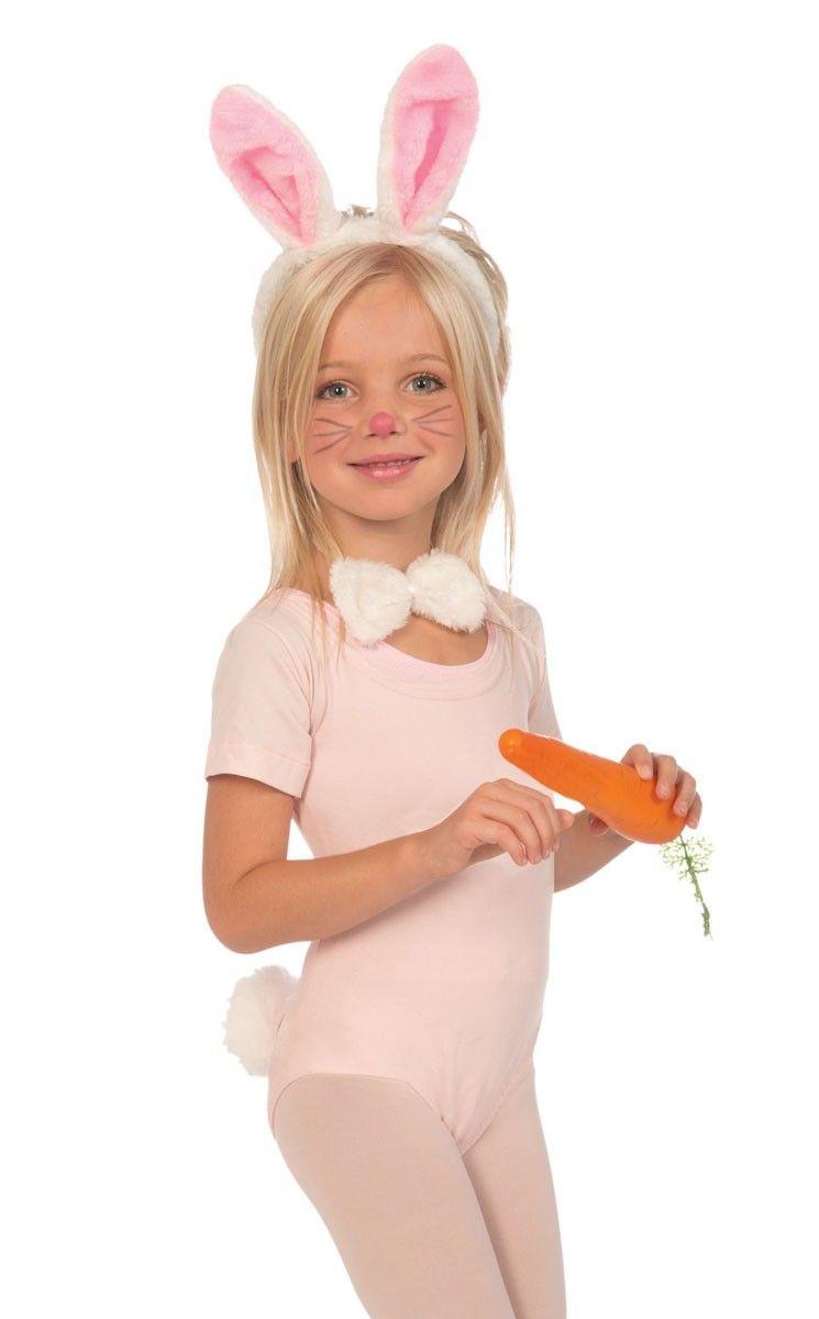 Kids Girls Boys Easter Bunny Rabbit Ears Nose Tail Peter Fancy Dress Costume Kit
