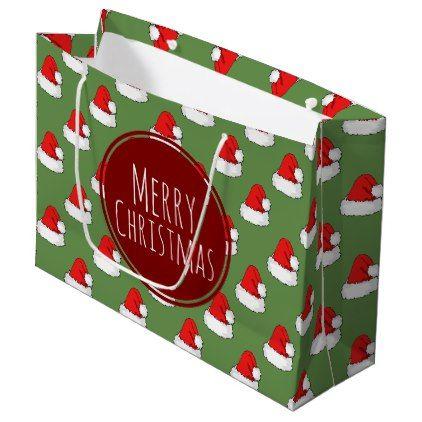 Merry Christmas Red Santa Hats Pattern Large Gift Bag - pattern