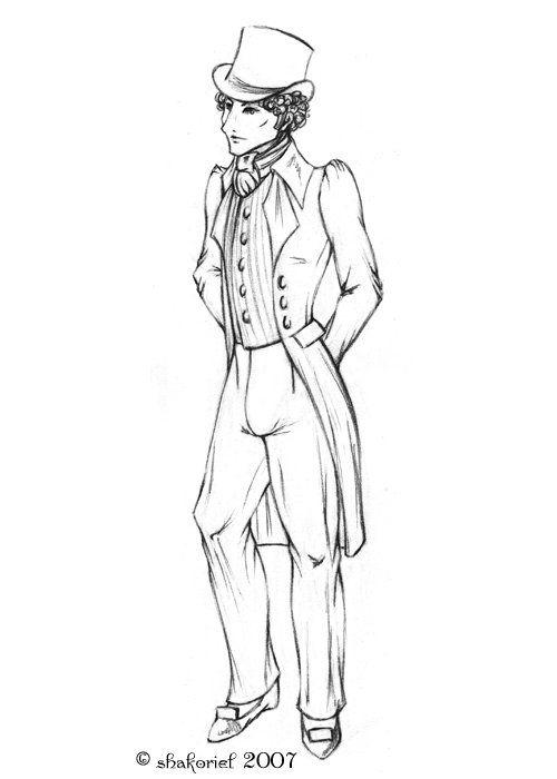 Regency Gentleman To Color Hat Breeches Cravat Coat And Waistcoat Elegant Man Coloring Pages The Originals