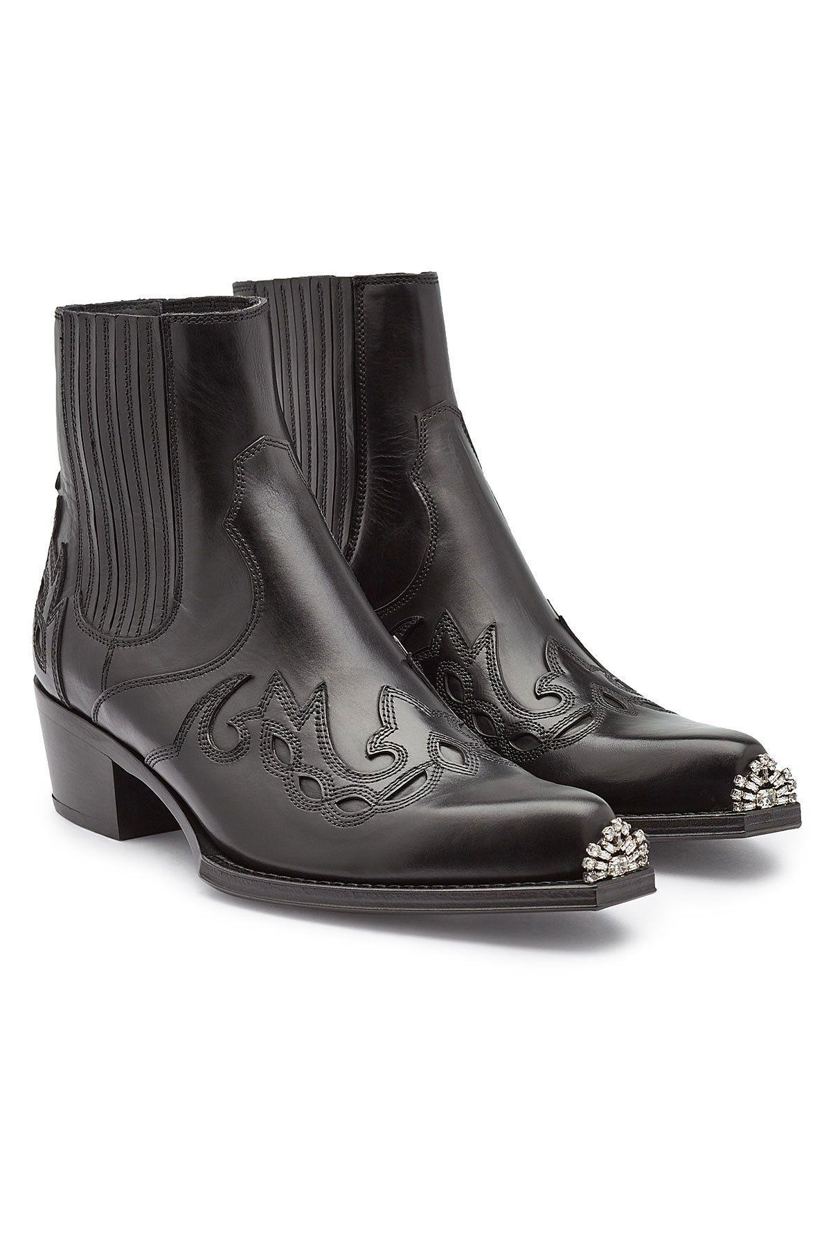 97660e6dc928 CALVIN KLEIN 205W39NYC - Cal Calveta Leather Ankle Boots on STYLEBOP ...